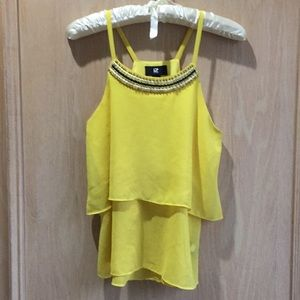 LAST CHANCE! Yellow beaded 2-layer top